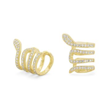 14k Gold Plated Sterling Silver CZ Snake Ear Cuffs