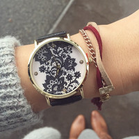 PU Leather Belt Round Dial Quartz Watch with Lace Flower Print
