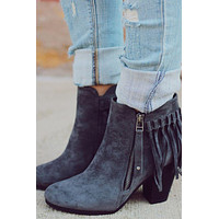 Fringe Booties - Grey
