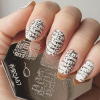 Lovely Lip Cup Letter Pattern Nail Art Stamp Stamping Template Image Plate Manicure Set QA67