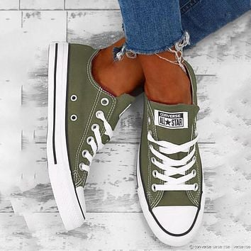 """Vsgirlss """"Converse"""" Fashion Canvas Flats Sneakers Sport Shoes Low Tops Army green Olive green"""