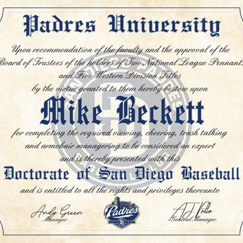 "San Diego Padres Ultimate Baseball Fan Personalized Diploma - 8.5"" x 11"""