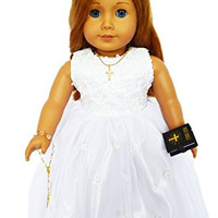 SEQUIN COMMUNION GOWN FOR AMERICAN GIRL DOLLS WITH VEIL AND ALL ACCESSORIES