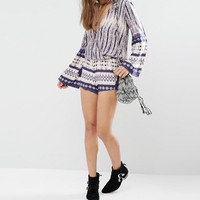 Honey Punch Festival Shorts In Tie Dye Linear Print With Tassel Ties at asos.com