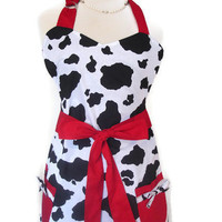 Retro Apron - Vintage Inspired Cow Print with Red Ties  - Reversible Apron for Women