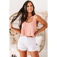 Helena Ribbed Scoop Neck Cropped Swing Tank (Candy Peach)
