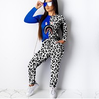 Fashion shark mouth color matching leopard print two piece set
