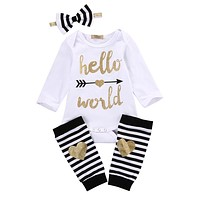 2016 baby girl clothes Set Newborn Kids Baby Boy Girl Infant Hello World Romper +Striped stocking +headband Clothes Outfit Set