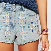 Bellfield Denim Shorts With Embroidery