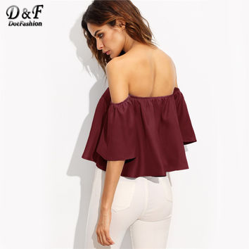 Women Blouses Burgundy Shirred Sexy Off Shoulder Tops Summer Casual Clothing 2017 Fashion Half Sleeve Ruffles Blouse