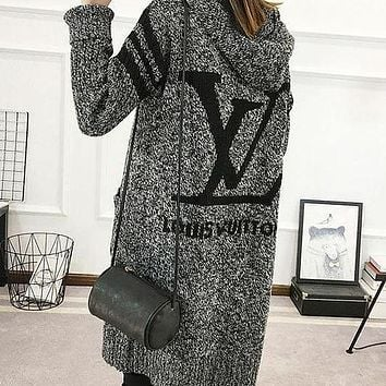 LV Louis Vuitton Hooded Sweater Knit Cardigan Jacket Coat