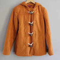 Orange Duffle Coat Hooded Wool Parka Fisherman Jacket Oversize Vintage 90s Size S #O150A