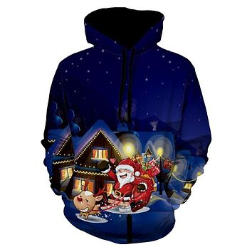 Santa Clause Eve Print Christmas Pullover Hoodie for Men 6927