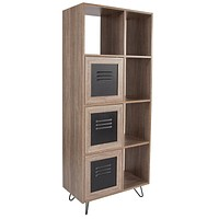 "Woodridge Collection 63"" High Rustic Wood Grain Finish Bookshelf with Metal Storage Doors"