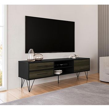 "60"" Wooden TV Stand with 4 Drawers, Brown and Black By The Urban Port"
