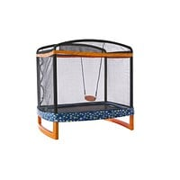 "JUMP POWER 72"" x 50"" Rectangle Indoor/Outdoor Trampoline & Safety Net with Swing Combo. for Toddlers & Kids"