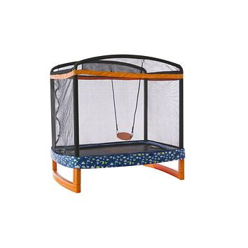 """JUMP POWER 72"""" x 50"""" Rectangle Indoor/Outdoor Trampoline & Safety Net with Swing Combo. for Toddlers & Kids"""