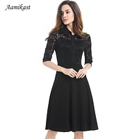 Lace Dresses New Fashion Summer Elegant Notched Middle Sleeve Vintage Pinup Retro Rockabilly Party Wiggle Evening Business Dress