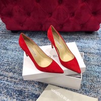 DCCK 1623 MANOLO BLAHNIK MB Fashion Suede High-heeled Shoes Heel 8cm Red
