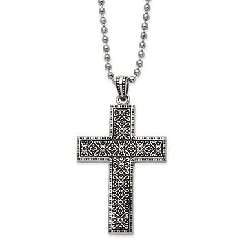 """Stainless Steel Antiqued And Polished Cross 22"""" Necklace"""
