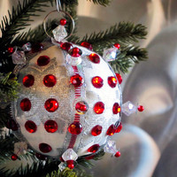 Christmas Ornament, Silver Ball with Red Accents in Gift Box, Handmade Fabric Tree Decoration, Holiday Decor, Boxed Wrapped Present Hostess