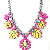 Dayglo Statement Necklace - Pink + Neon Yellow
