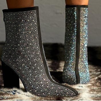 Explosive hot selling fashion point drill thick heel boots shoes