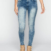 Tinseltown Womens Pull-On Skinny Jeans Acid Wash  In Sizes