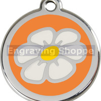 Orange Daisy Enamel and Stainless Steel Personalized Custom Pet Tag with LIFETIME GUARANTEE ID Tag Dog Tags and Cat Tags Free Engraving