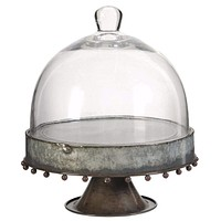 Metal Pedestal Plate with Glass Dome, Gray and Clear, Large By Casagear Home