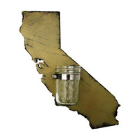 California State Wall Decor Mason Jar Vase State Cut Out Wood Sign Wall Decor Rustic Chic Housewarming Gift Wall Decor Art