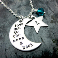 Love you to the moon & back - Metal Stamped Necklace with Star Initial Charm
