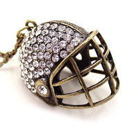 Necklace, Rugby hat necklace, American football hat, Christmas gift.