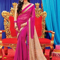 Buy Pink Chiffon Tanu weds Manu Inspired Saree Online at Best Prices in India | Buy Saree Online - Cbazaar India sacvp3683