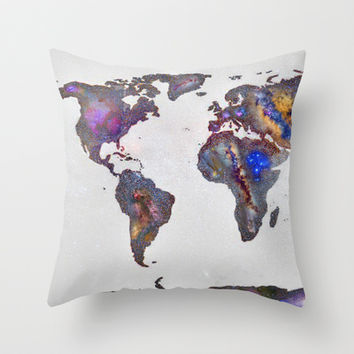 Stars world map Throw Pillow by Guido Montañés