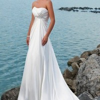 Satini Strapless Rouched Bodice With Slim Empire A Line Beach Wedding Dress - Basadress.com