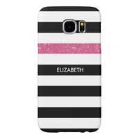 Modern Black White Stripes Pink Glitter and Name Samsung Galaxy S6 Cases