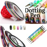 5 X 2 Way Marbleizing Dotting Pen Set for Nail Art Manicure Pedicure+10 Color Rolls Nail Art Decoration Striping Tape