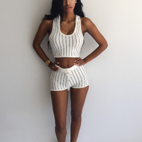 Casual Stripe Hooded Two Piece Set