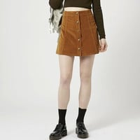 Suede Leather Button Mini Skirt