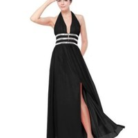 Ever Pretty Sexy Halter V-Neck Sequins Slitted Summer Party Dress 09581