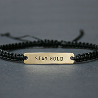 Stay Gold Brass and Macramé Bracelet, Choice Of Colours Available