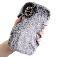 iPhone XS/XS Max 5.8/6.5 Inch Luxury Winter Warm Fluffy Plush Bling Case