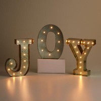 """JOY"" Silver LED Battery Operated Marquee Lights"