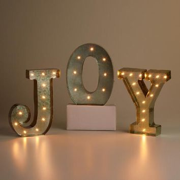 """""""JOY"""" Silver LED Battery Operated Marquee Lights"""