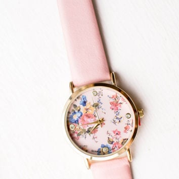 Pink Floral Print Pastel Watch, Pastel Accessories, Womens Accessories, Womens Jewelry