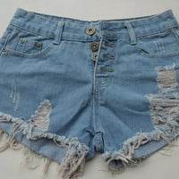New Lady Sexy Denim Shorts High Waisted Hole Stretch Cotton Blue Shinny Women Ripped Jeans HotPants Hot Pants = 1930200388