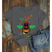 Women's Save The Bees Shirt Graphic Tee Illustrated T-Shirt Shirt Hipster Bee Keeper Gift Idea