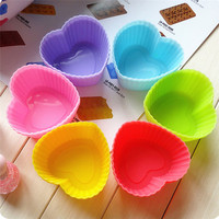 12pcs Mix colors Heart Shape Kitchen cake mold cups Silicone Cupcake Chocolate Kitchen Craft Baking liner case mould 7CM sale