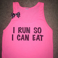 SALE - I Run So I Can Eat - Neon Pink - UNISEX Tank - Ruffles with Love - Womens Fitness - Workout Tank - Bow Tank